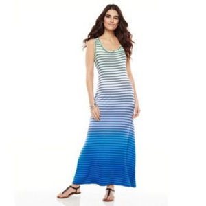 Blue Teal ombre maxi dress black stripes S